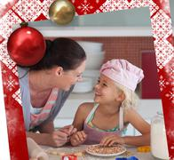 Stock Illustration of Lovely mother and her daughter baking in a kitchen