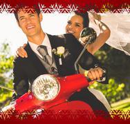 Newlywed couple enjoying scooter ride - stock illustration