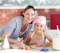 Laughing mother and her daughter baking in a kitchen Piirros