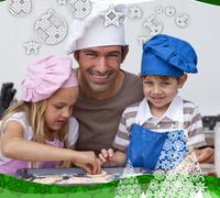 Father and daughter and son baking in the kitchen - stock illustration