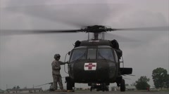 UH-60 Black Hawk helicopter at Combat Aviation Brigade Supports Vibrant Response Stock Footage