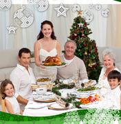 Family celebrating christmas dinner with turkey - stock illustration