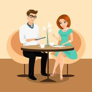 Young man and woman using a tablets pc in the restaurant. Stock Illustration