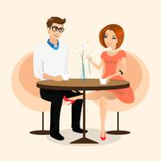 Young sensual pretty woman flirts with boyfriend in the cafe - stock illustration