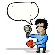 Cartoon man on first date Stock Illustration