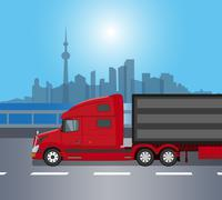 Red american truck isolated - stock illustration