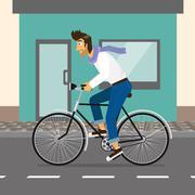 Handsome guy rides a bike - stock illustration