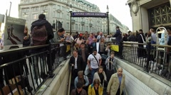 Oxford Circus Station Entrance at Rush Hour Stock Footage