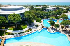 the swimming pools at luxury hotel, antalya, turkey - stock photo