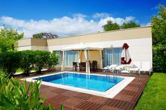 The swimming pool at luxury villa, antalya, turkey Stock Photos