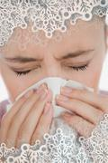 Composite image of woman blowing her nose Stock Illustration