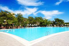 Swimming pool at luxury hotel, antalya, turkey Stock Photos