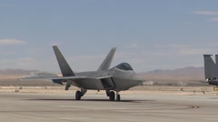 F-22 Raptor stealth fighter at Red Flag Stock Footage