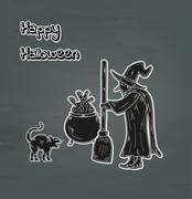 old witch, cat and cauldron - stock illustration