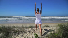 Warrior yoga pose Stock Footage