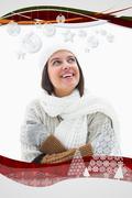 Pretty brunette in warm clothes - stock illustration