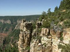 Tilt up hoodoos, spires of rock at Point Imperial, Grand Canyon north rim. Stock Footage