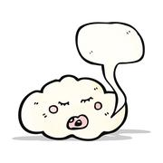 Stock Illustration of cartoon cloud with speech bubble