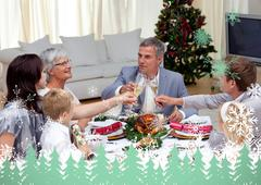 Family tusting in a christmas dinner with champagne - stock illustration
