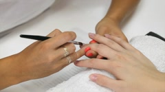 Nail extension gel apply with brush Stock Footage