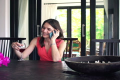 Young woman talking on cellphone and drinking wine by dining table NTSC Stock Footage