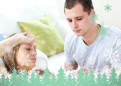 Stock Illustration of Caring man check the temperature of his sick girlfriend with a thermometer