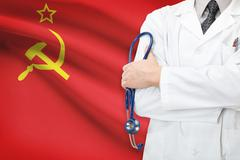 concept of national healthcare system - ussr - soviet union - stock photo