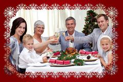 Family tusting in a christmas dinner - stock illustration