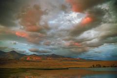 Stock Photo of sunset on the lake