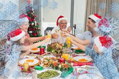 Family in santas hats toasting wine glasses at dining table - stock illustration