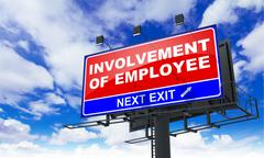 Involvement of Employee on Red Billboard. Stock Illustration