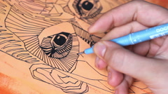 Speed up video of young artist drawing Stock Footage