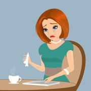 Young elegant woman is crying in the cafe - close up illustration Stock Illustration