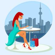 Young pretty woman sitting alone in the cafe and using a tablet pc Stock Illustration