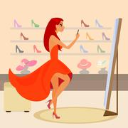 Redhair woman is taking a snapshot for social networking Stock Illustration