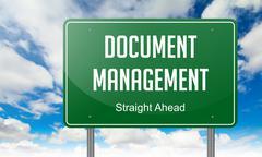 Document Management on Highway Signpost. Stock Illustration