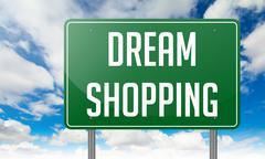 Stock Illustration of Dream Shopping on Highway Signpost.