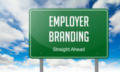 Employer Branding on Highway Signpost. - stock illustration