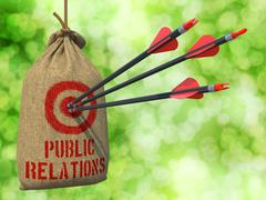 Public Relation - Arrows Hit in Red Target. - stock illustration