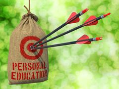 Personal Education - Arrows Hit in Red Target. Stock Illustration