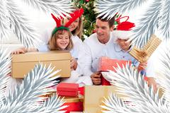 Young family having fun with christmas gifts Stock Illustration