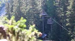 Women fancy trick son zipline aerial angle Stock Footage