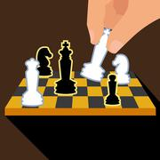 Business strategy with chess figures of chess. Isolated on brown background - stock illustration