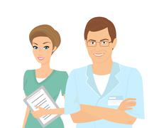 Smiling female and male dentists isolated on white - stock illustration
