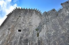 Watch walk and tower of kamerlengo castle in trogir, croatia Stock Photos