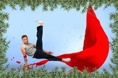 Stock Illustration of Break dancer skillfully balancing on one hand