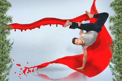 Break dancer doing a handstand - stock illustration