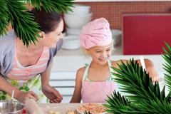 Cheerful mother and her daughter baking in a kitchen - stock illustration