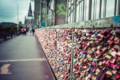 Stock Photo of cologne, germany - august 26, 2014, thousands of love locks which sweethearts
