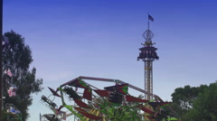 Tower of Terror & Hang Glider Ride at the County Fair Stock Footage